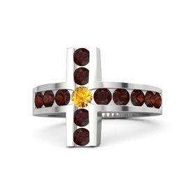 Round Citrine Sterling Silver Ring with Red Garnet