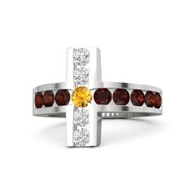 Round Citrine Sterling Silver Ring with Red Garnet & White Sapphire