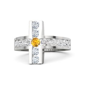 Round Citrine Sterling Silver Ring with White Sapphire and Diamond