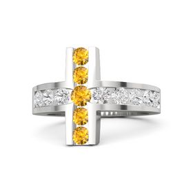Round Citrine Sterling Silver Ring with White Sapphire and Citrine