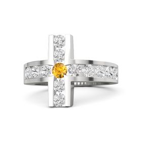 Round Citrine Sterling Silver Ring with White Sapphire
