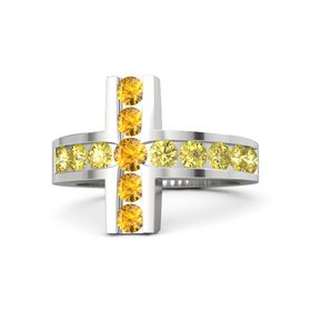 Round Citrine Sterling Silver Ring with Yellow Sapphire & Citrine
