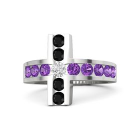 Round White Sapphire Sterling Silver Ring with Amethyst and Black Onyx