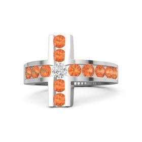 Round White Sapphire Sterling Silver Ring with Fire Opal