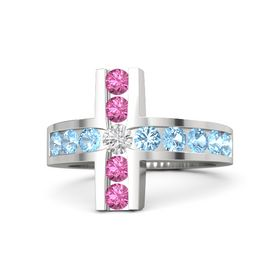 Round White Sapphire Sterling Silver Ring with Blue Topaz and Pink Tourmaline