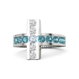 Round Aquamarine Sterling Silver Ring with London Blue Topaz & White Sapphire