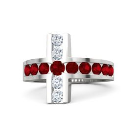 Round Ruby Sterling Silver Ring with Ruby and Diamond