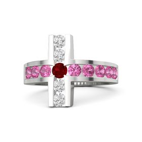 Round Ruby Sterling Silver Ring with Pink Tourmaline and White Sapphire