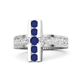 Round Blue Sapphire Sterling Silver Ring with White Sapphire and Blue Sapphire