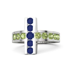 Round Blue Sapphire Sterling Silver Ring with Peridot and Blue Sapphire