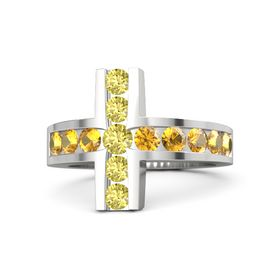 Round Yellow Sapphire Sterling Silver Ring with Citrine & Yellow Sapphire