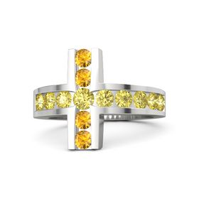 Round Yellow Sapphire Sterling Silver Ring with Yellow Sapphire & Citrine