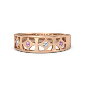 14K Rose Gold Ring with Pink Tourmaline & Diamond