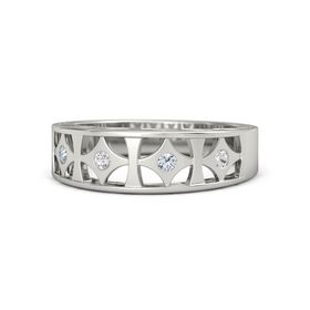 14K White Gold Ring with White Sapphire and Diamond