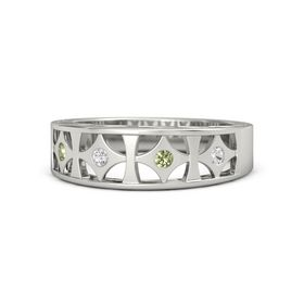 14K White Gold Ring with White Sapphire and Peridot