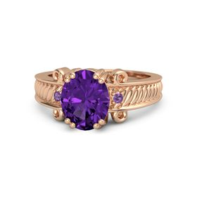 Oval Amethyst 14K Rose Gold Ring with Amethyst