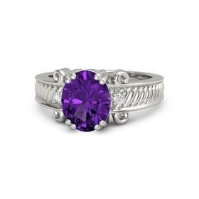 Oval Amethyst 14K White Gold Ring with White Sapphire