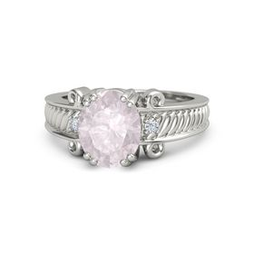Oval Rose Quartz 14K White Gold Ring with Diamond