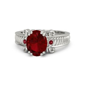 Oval Ruby 14K White Gold Ring with Ruby