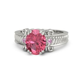 Oval Pink Tourmaline 14K White Gold Ring with Pink Tourmaline