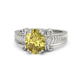 Oval Yellow Sapphire 14K White Gold Ring with Diamond