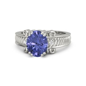 Oval Tanzanite 14K White Gold Ring with White Sapphire