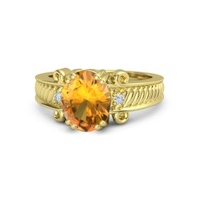 Oval Citrine 14K Yellow Gold Ring with Diamond
