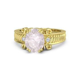 Oval Rose Quartz 14K Yellow Gold Ring with Diamond