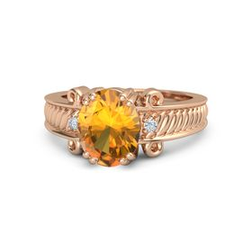 Oval Citrine 18K Rose Gold Ring with Diamond