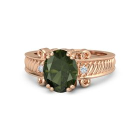 Oval Green Tourmaline 18K Rose Gold Ring with Diamond