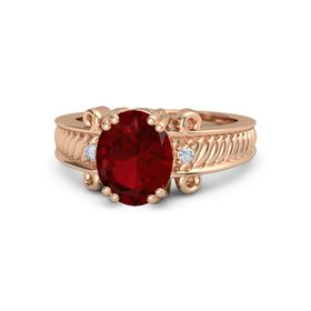 Oval Ruby 18K Rose Gold Ring with Diamond