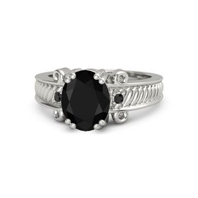 Oval Black Onyx 18K White Gold Ring with Black Diamond
