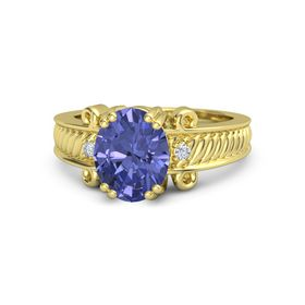 Oval Tanzanite 18K Yellow Gold Ring with Diamond