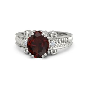 Oval Red Garnet Palladium Ring with Diamond