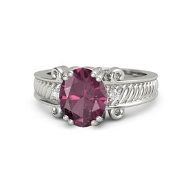 Oval Rhodolite Garnet Palladium Ring with White Sapphire