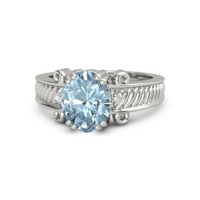 Oval Aquamarine Palladium Ring with White Sapphire