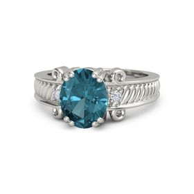 Oval London Blue Topaz Platinum Ring with Diamond