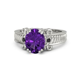Oval Amethyst Platinum Ring with Black Diamond