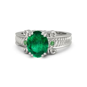 Oval Emerald Platinum Ring with Emerald
