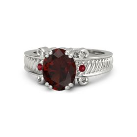 Oval Red Garnet Platinum Ring with Ruby