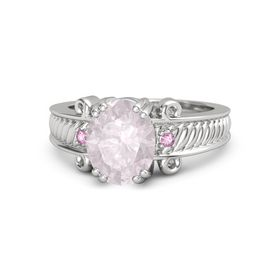 Oval Rose Quartz Sterling Silver Ring with Pink Sapphire
