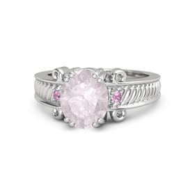 Oval Rose Quartz Sterling Silver Ring with Pink Tourmaline