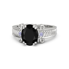 Oval Black Onyx Sterling Silver Ring with Tanzanite