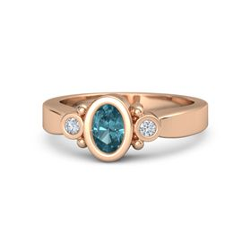 Oval London Blue Topaz 14K Rose Gold Ring with Diamond