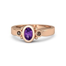 Oval Amethyst 14K Rose Gold Ring with Smoky Quartz