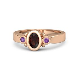 Oval Red Garnet 14K Rose Gold Ring with Amethyst