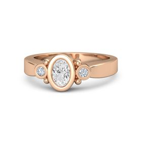 Oval White Sapphire 14K Rose Gold Ring with Diamond