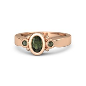 Oval Green Tourmaline 14K Rose Gold Ring with Green Tourmaline