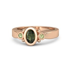 Oval Green Tourmaline 14K Rose Gold Ring with Peridot