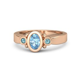 Oval Blue Topaz 14K Rose Gold Ring with London Blue Topaz